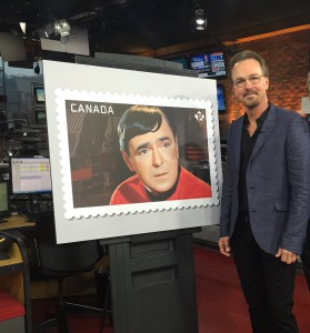 Chris Doohan, son of Canadian actor James Doohan, who played 'Scotty' in the original Star Trek series, unveiled this new stamp today in Toronto.