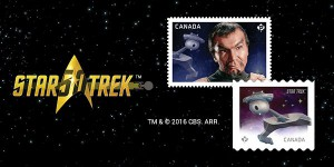 These stamps featuring Klingon Commander Kor (played by the late Canadian actor John Colicos) and the Klingon battlecruiser were issued by Canada Post at 10 p.m.