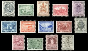 In total, 14 commemorative Newfoundland stamps were issued in 1933, marking the 350th anniversary of Gilbert's voyage.