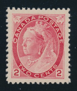 Lot 99, this 1899 two-cent carmine Queen Victoria Numeral, realized $575.