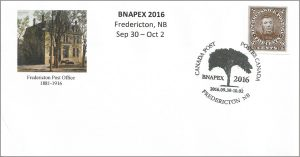 This 2016 BNAPEX souvenir cover features a label depicting the unissued New Brunswick Charles Connell stamp.