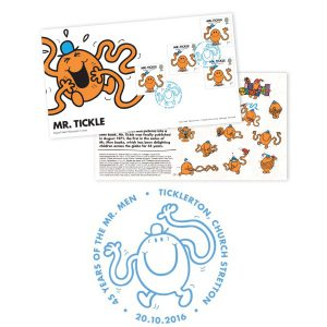 A total of 3,000 numbered souvenir covers (shown above) were also released as part of the Mr. Men and Little Miss issue.