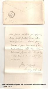 The cover and letter (reverse shown)