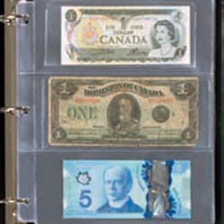 Free of acids and chemicals, with 3 pockets for ideal protection of all Canadian old and modern banknotes.